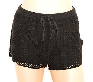 SHORTS-NERO-donna-pantalone-sexy-pantaloncino-corto-ragazza-ricamato-pizzo-F165