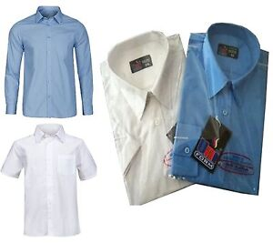 Boys-School-Shirt-Sky-Blue-or-White-Long-or-Short-sleeve-NEW-PolyCotton-Shirts