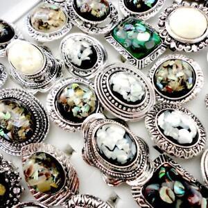 18pcs-Abalone-Shell-Silver-Plated-Rings-Women-Fashion-Wholesale-Jewelry-Lots