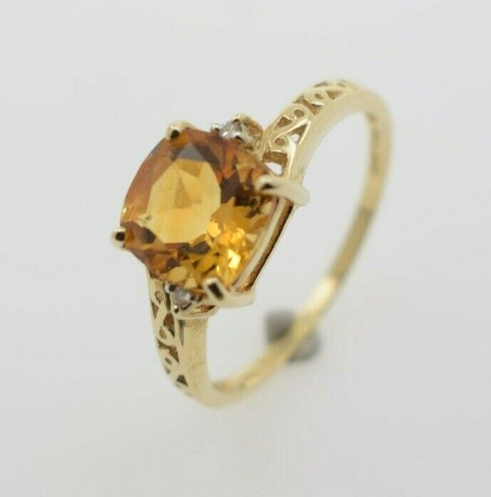 Womens 10K Yellow gold Ring with Synthetic Citrine Stone and Genuine Diamonds