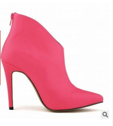 Womens Pointy Toe Ankle Boot High Heel Stiletto Patent Leather Shoes 4-10 Zipper