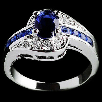 Women Blue Sapphire White Gold Filled Engagement Ring Size 7 8 9 Rings Jewelry