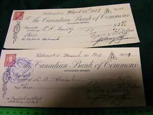 Canadian-Bank-of-Commerce-Old-Cheque-Check-used-1947-Kitchener-Ontario