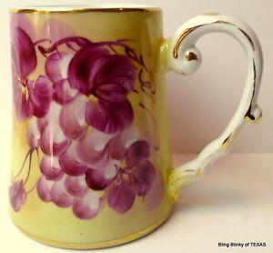 Limoges-China-Purple-Grapes-Tankard-Tall-Mug