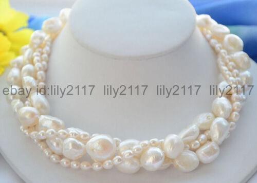environ 45.72 cm Nouveau 4 brins 12-13 mm Real Blanc Baroque /& Riz Eau Douce Collier De Perles 18 in