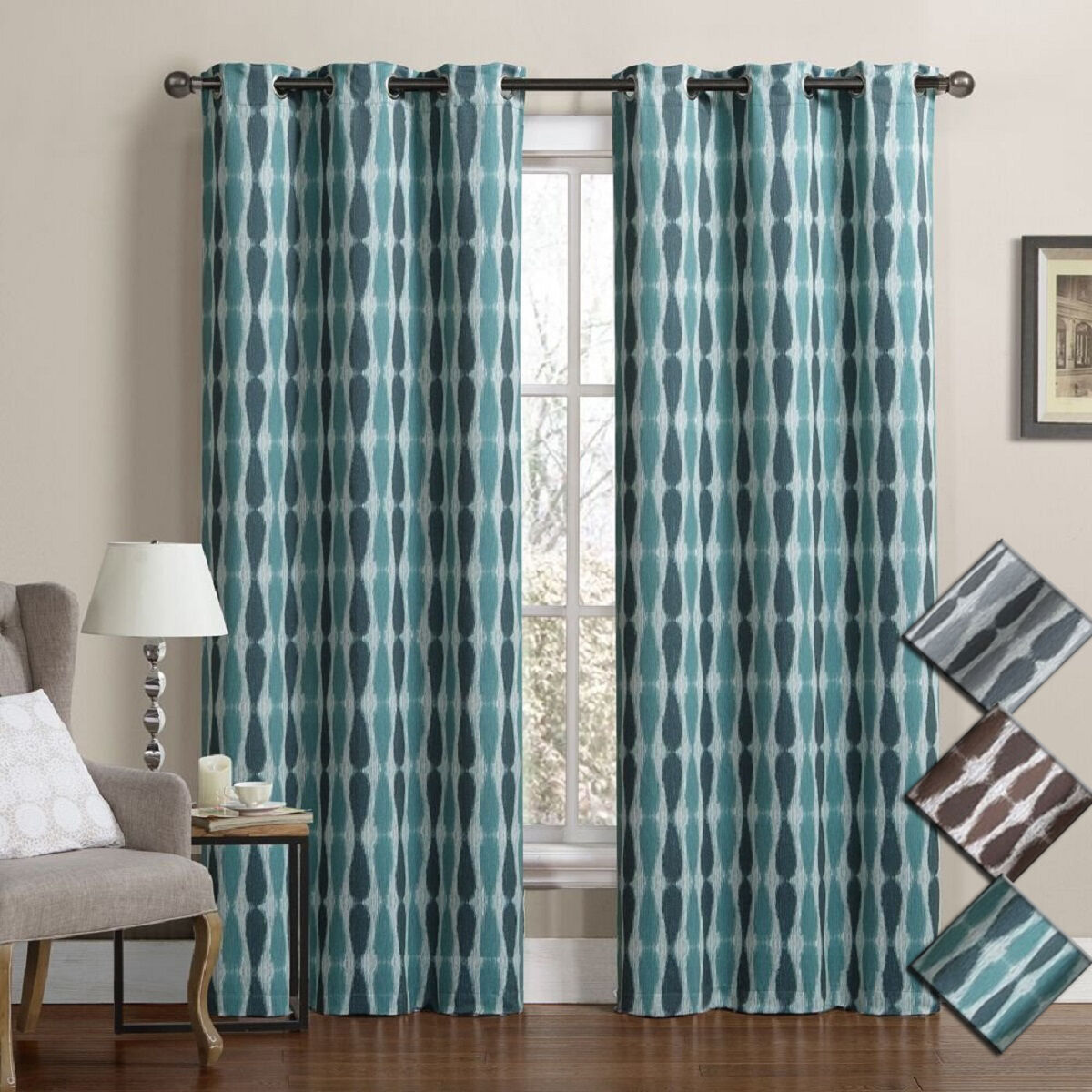 meridian room darkening grommet top window curtain drapes. Black Bedroom Furniture Sets. Home Design Ideas
