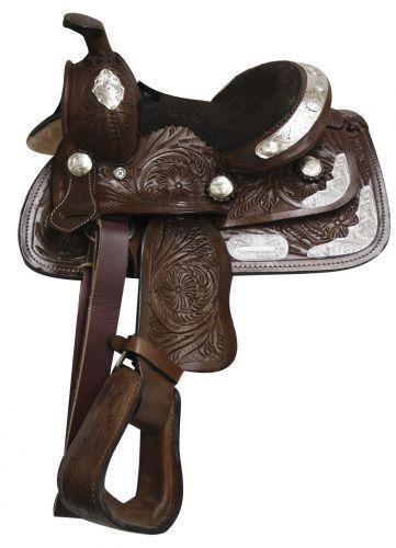 Double T 8  Poney Youth Show Saddle Gravé Silber entièrement ciselée Cuir sqhb