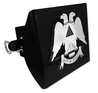 Scottish Rite Emblem On Black Plastic Hitch Cover