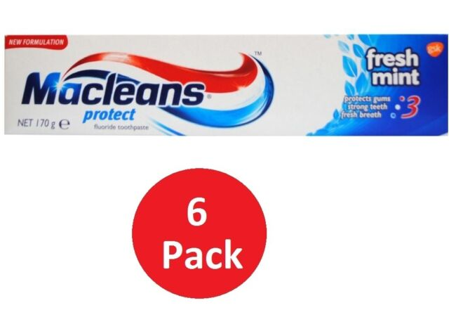 6 x MACLEANS 170g TOOTHPASTE PROTECT FRESH MINT 100% Brand New