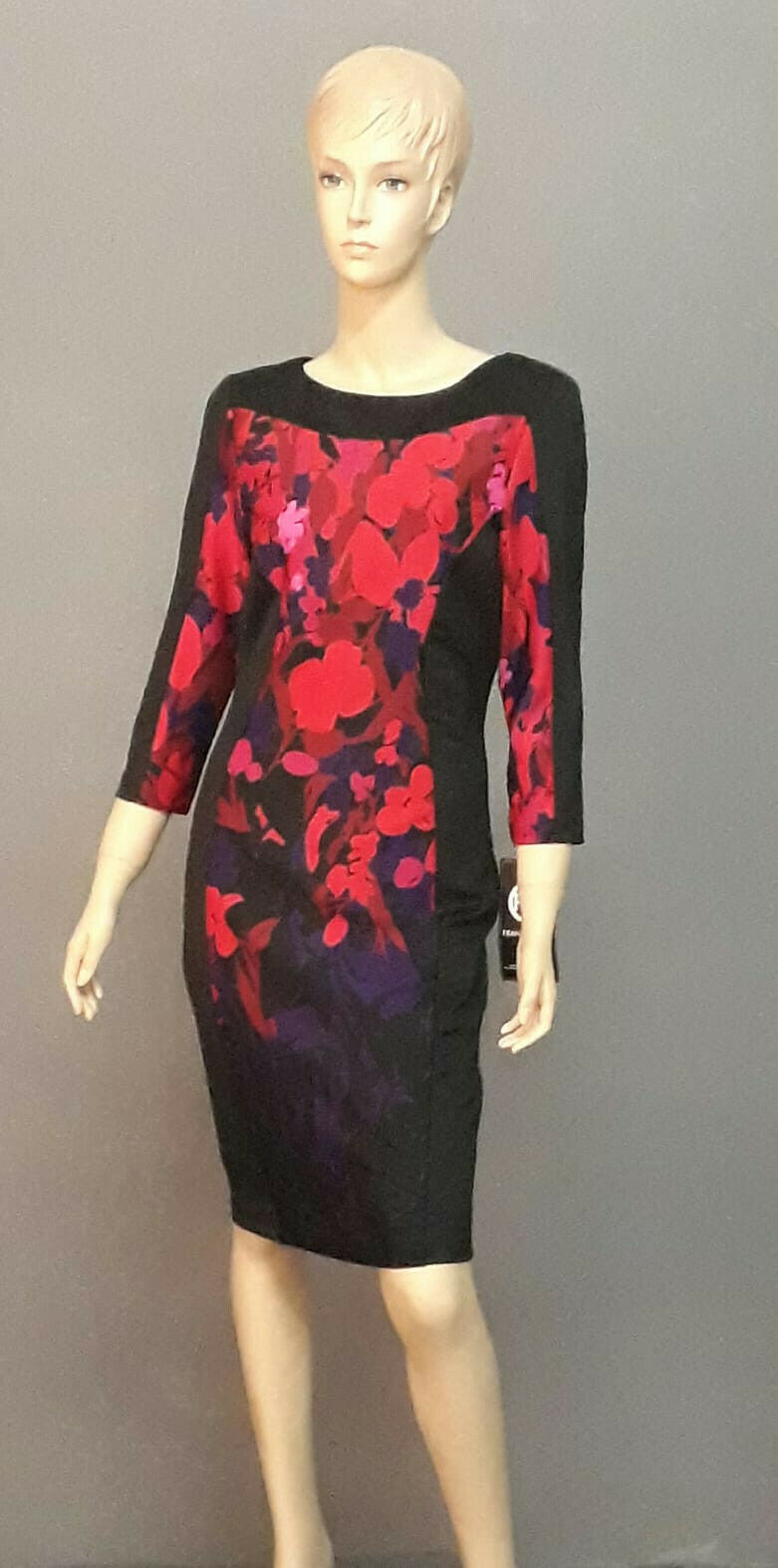 Damen Kleid Gr. 34  Frank Lyman Schwarz mit Blüten Muster in intensivem Rot