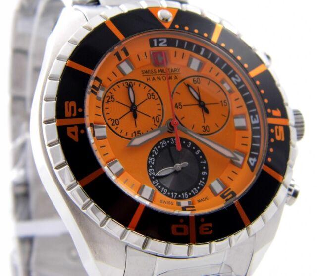 SWISS MILITARY HANOWA 06-5269.04.079 HERREN UHR CHRONO EDELSTAHL Orange NEU