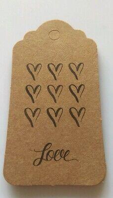 10 Etichette Cartellini Regalo Regali Craft Kraft Scrapbooking Card Making Cuori Love-