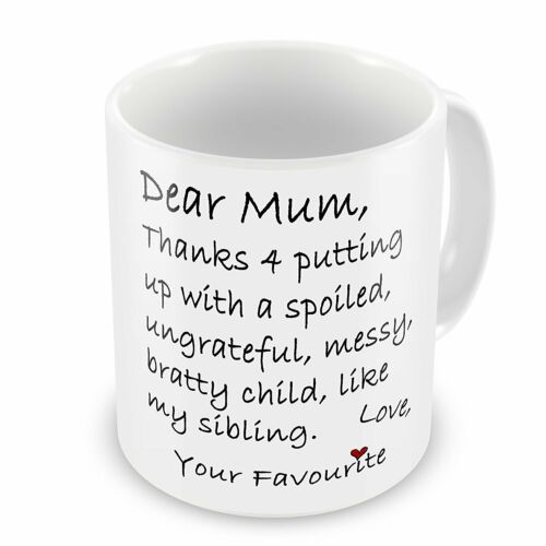 Mothers Day Gift MUMMY MOM THANKS FOR PUTTING UP MUM SPECIAL HER BIRTHDAY
