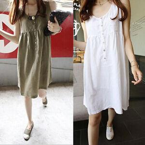 76756a8c8f Women s Summer Casual Loose Sleeveless A-line Cotton Linen Short ...