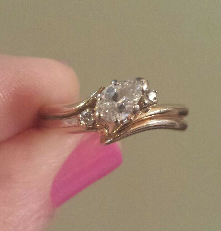 AGS APPRAISAL 14K Yellow gold PEAR-SHAPE DIAMOND Solitaire W Accents Ring
