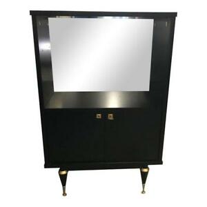 Image Is Loading Monumental French Art Deco Ebonized Dry Bar Cabinet