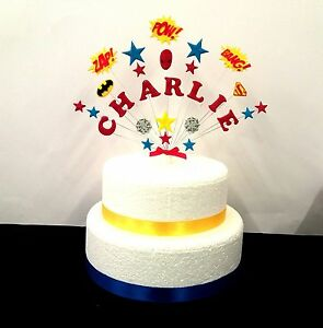Image Is Loading Personalised Superhero Birthday Cake Topper Spiderman Batman Superman