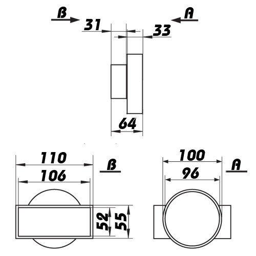 Adapter rund//eckig 666 Ø100 mm  //110 mm x 55 mm kurz