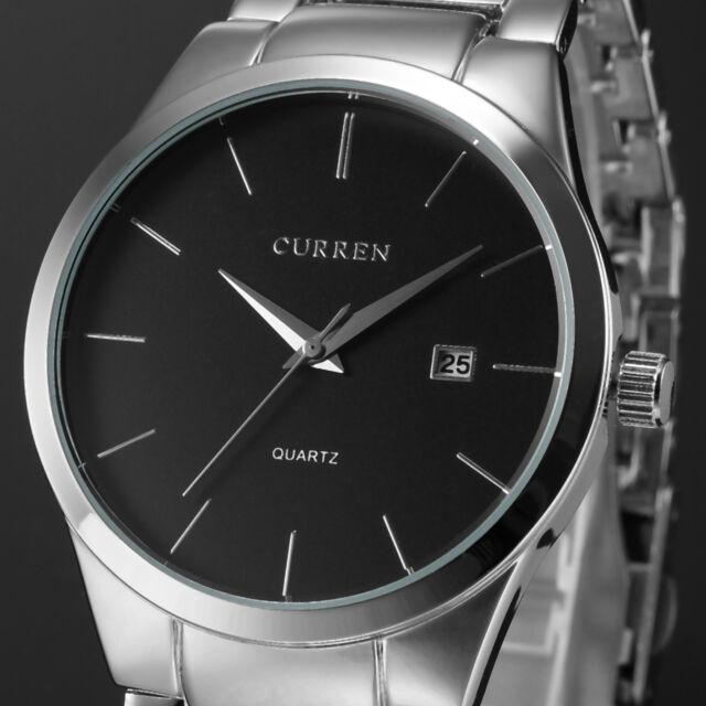 CURREN Mens Black Dial Stainless Steel Date Military Quartz Sport Wrist Watch