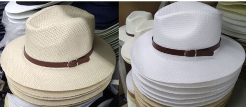 Men/'s Women/'s Cotton Blend Straw Trilby Fedora Panama Hat Faux Leather Band