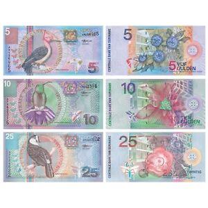 Surinam-5-10-25-Gulden-2000-Conjunto-de-3-billetes-de-3-Piezas-UNC