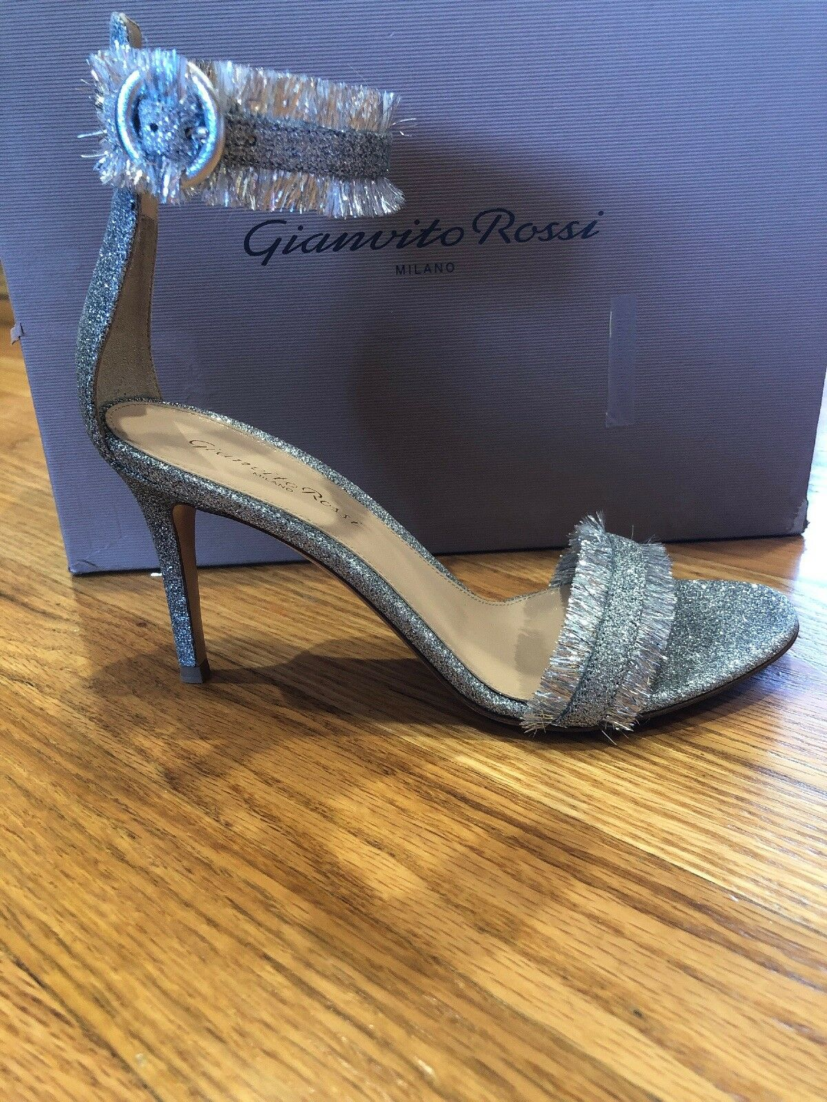 NIB  875 Gianvito Rossi Caribe Glitter Ankle-Strap Sandals High High High Heel shoes 7.5 2e880d