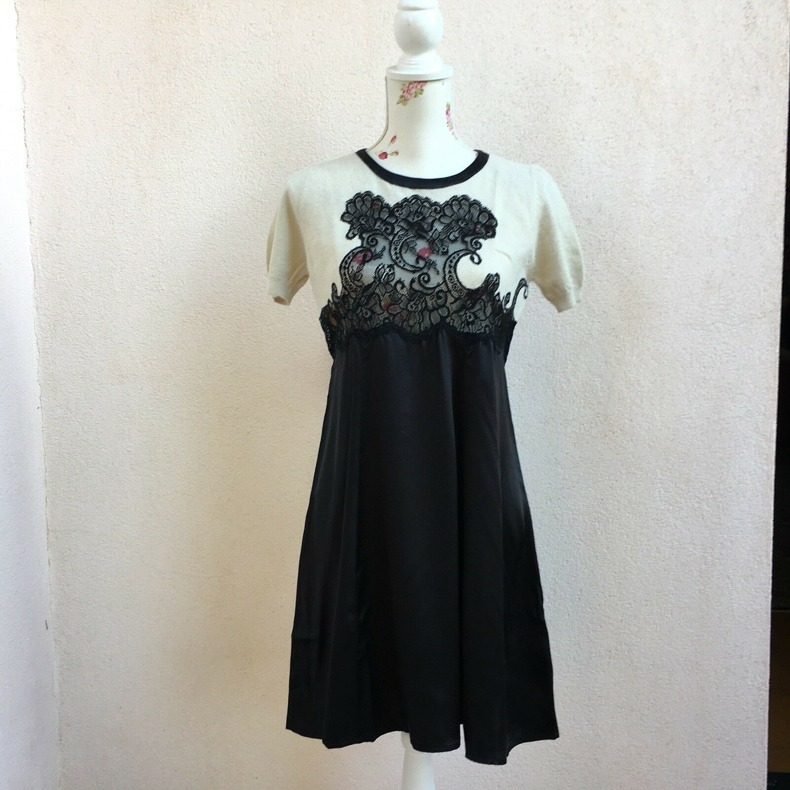 TWIN SET by Simona Barbieri abito vestito pizzo seta lana noir panna Robe Tg M