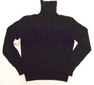 Vtg Polo Ralph Lauren 100% Cashmere Colorblock Cable Ski Knit Turtleneck Sweater