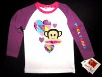 Paul Frank Toddler Little Girls Long Sleeve White & Purple Graphic Tee Msrp: $28