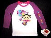 Paul Frank Toddler Little Girls Long Sleeve White & Purple Graphic Tee Msrp: $28
