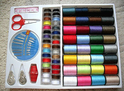 100 Pcs Sewing Pack Kit Thread Needle Tape Measure Threader Thimble UK