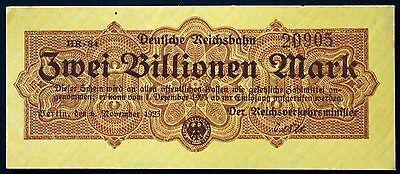 GERMANY REICHSBAHN BERLIN 1923 2 Trillion railroad issue inflation banknote