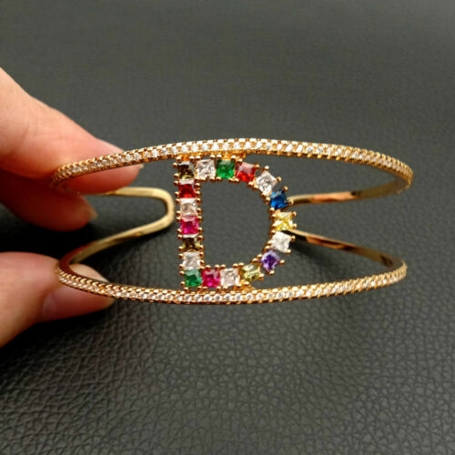 Alphabet  A-Z Initial letter bangle bracelet gold plated Cubic Zircon micro pave