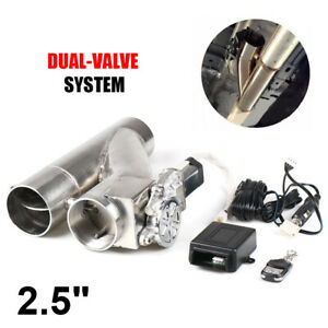 """2.5"""" 63mm Exhaust Control Cut Out Dual Valve Electric Y Pipe Wireless Remote"""
