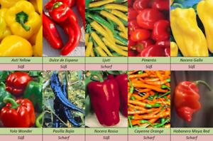 Sweet-amp-Hot-Pepper-Chilli-Paprika-Mix-Suess-und-Scharf-10-Sorten-Samen-Set