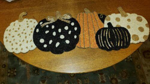 NEW Cynthia Rowley Curious beaded Fall Halloween Pumpkin Table Runner Whimsical
