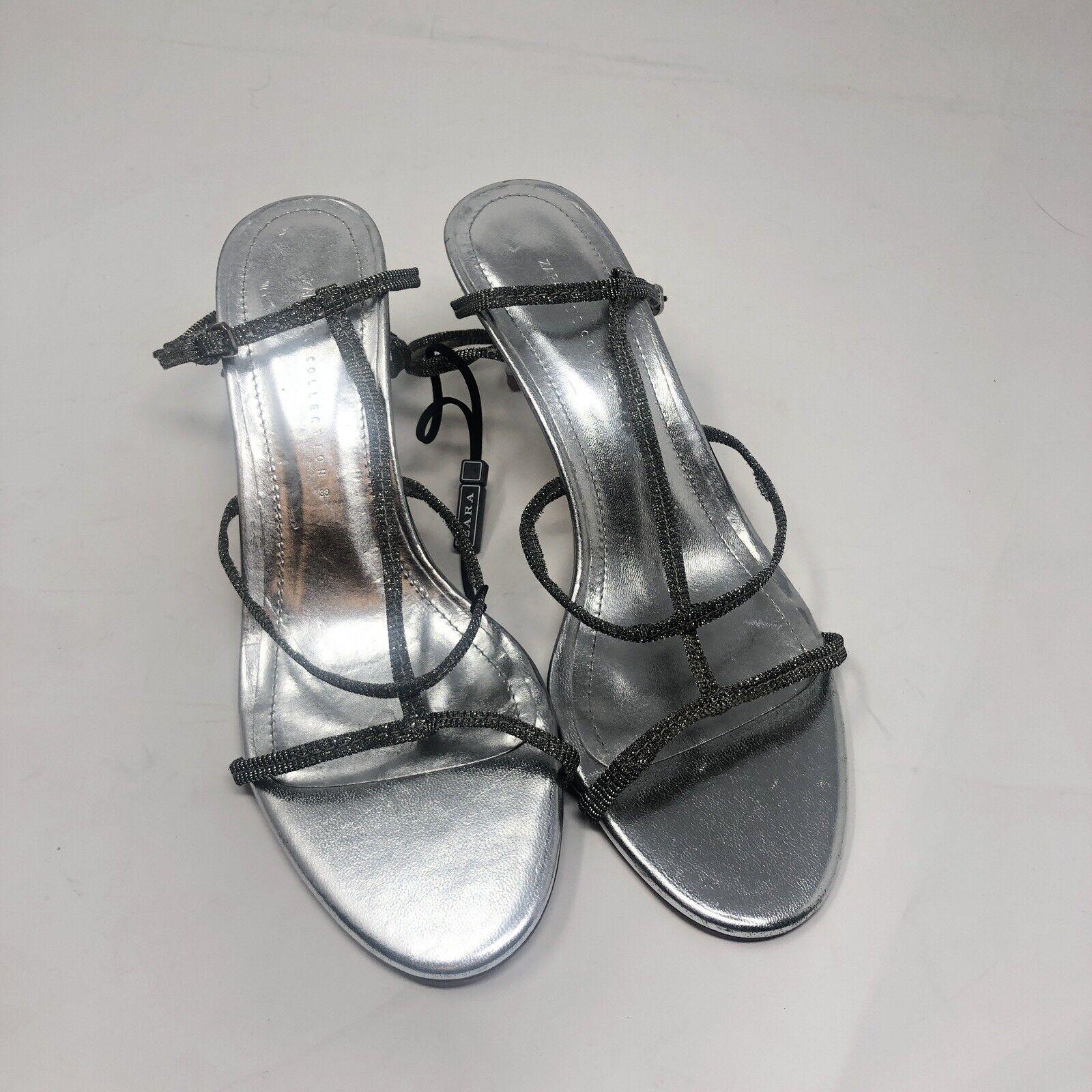 Zara chaussures Pointure SZ 7.5 argent Lanières Ref 6331 301