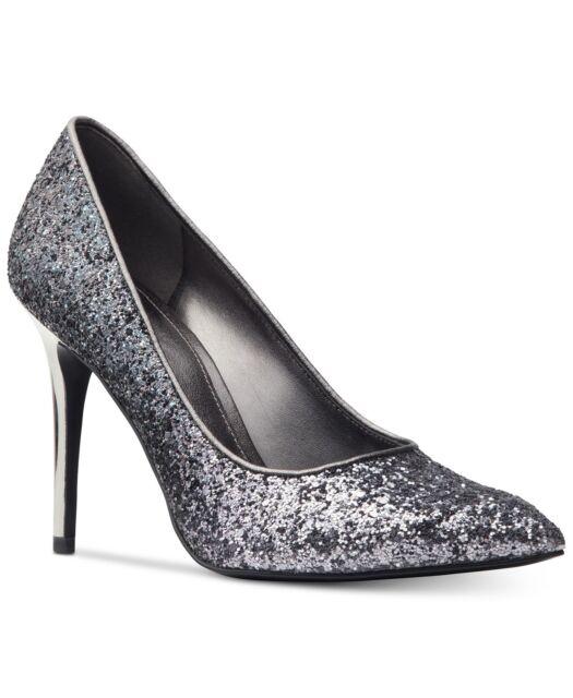 ec3c293673be MICHAEL Michael Kors Women s Claire Pointy Toe Pumps Size 8.5M Gunmetal  Glitter