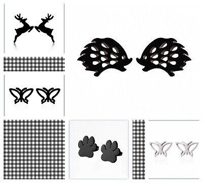 HYPOALLERGENIC STAINLESS STEEL STUD EARRINGS GOLD TRENDY SILVER BLACK BIRD TREES