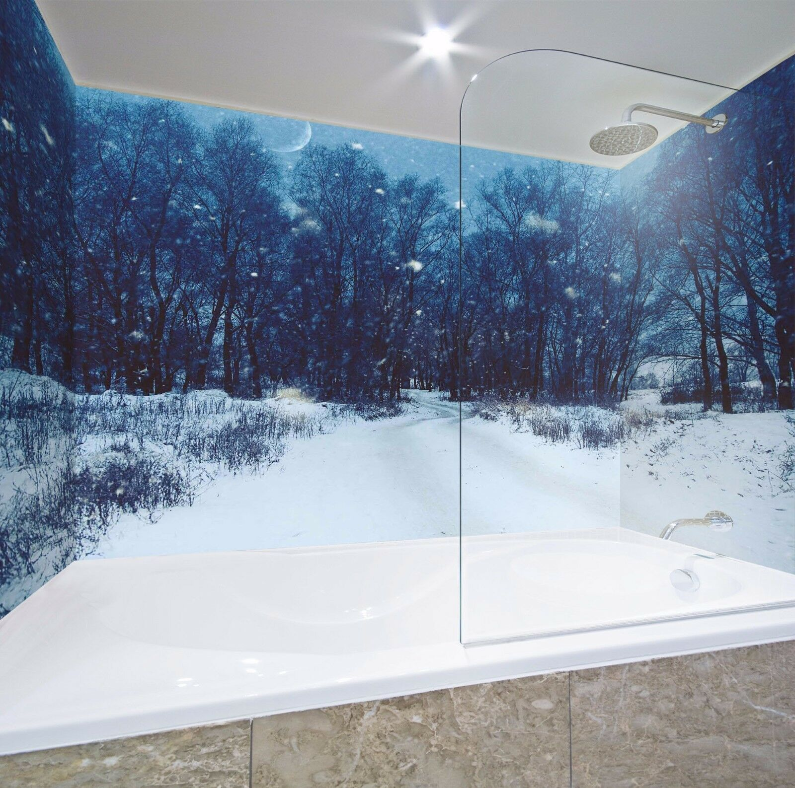 3D Night Snow Forest 53 WallPaper Bathroom Print Decal Wall Deco AJ WALLPAPER AU