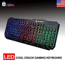 New Ergonomic Cool Crack Rainbow LED Illuminated Backlight USB Gaming Keyboards
