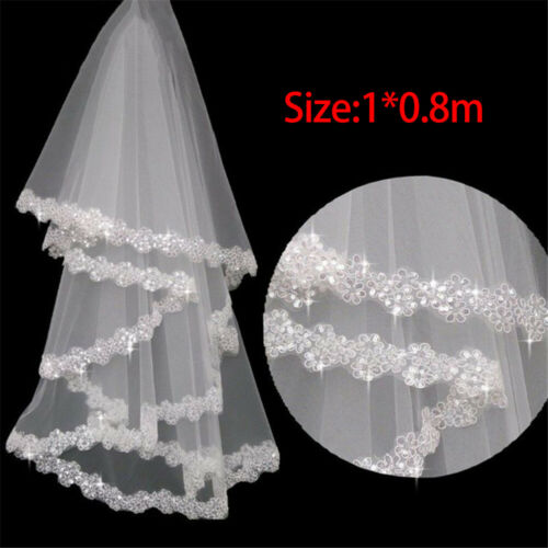 One Layer Veil Wedding Bridal Party Accessories Lace Lacework Sequins Design