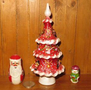 Santa-Snowman-Burgundy-Red-Christmas-Tree-Babushka-HAND-PAINTED-Russian-dolls-3