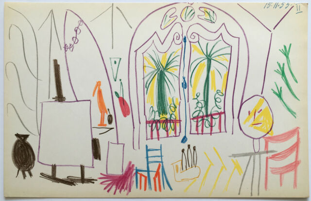Pablo Picasso offset color lithograph dated 15.11.55 Ed of 500