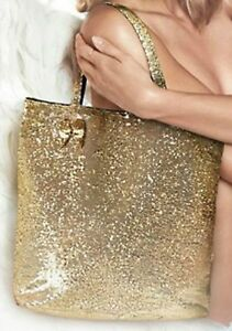 NEW VICTORIA'S SECRET SPARKLY GOLD SEQUIN TOTE BEACH BAG PURSE ...