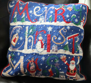 18-034-SQ-Handmade-Embroidered-Wool-Needlepoint-Pillow-Christmas-Snowman-Santa