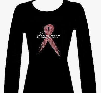 RHINESTUD BREAST CANCER SURVIVOR RIBBON LONG SLEEVE TOP SHIRT BLACKS ROUND NECK