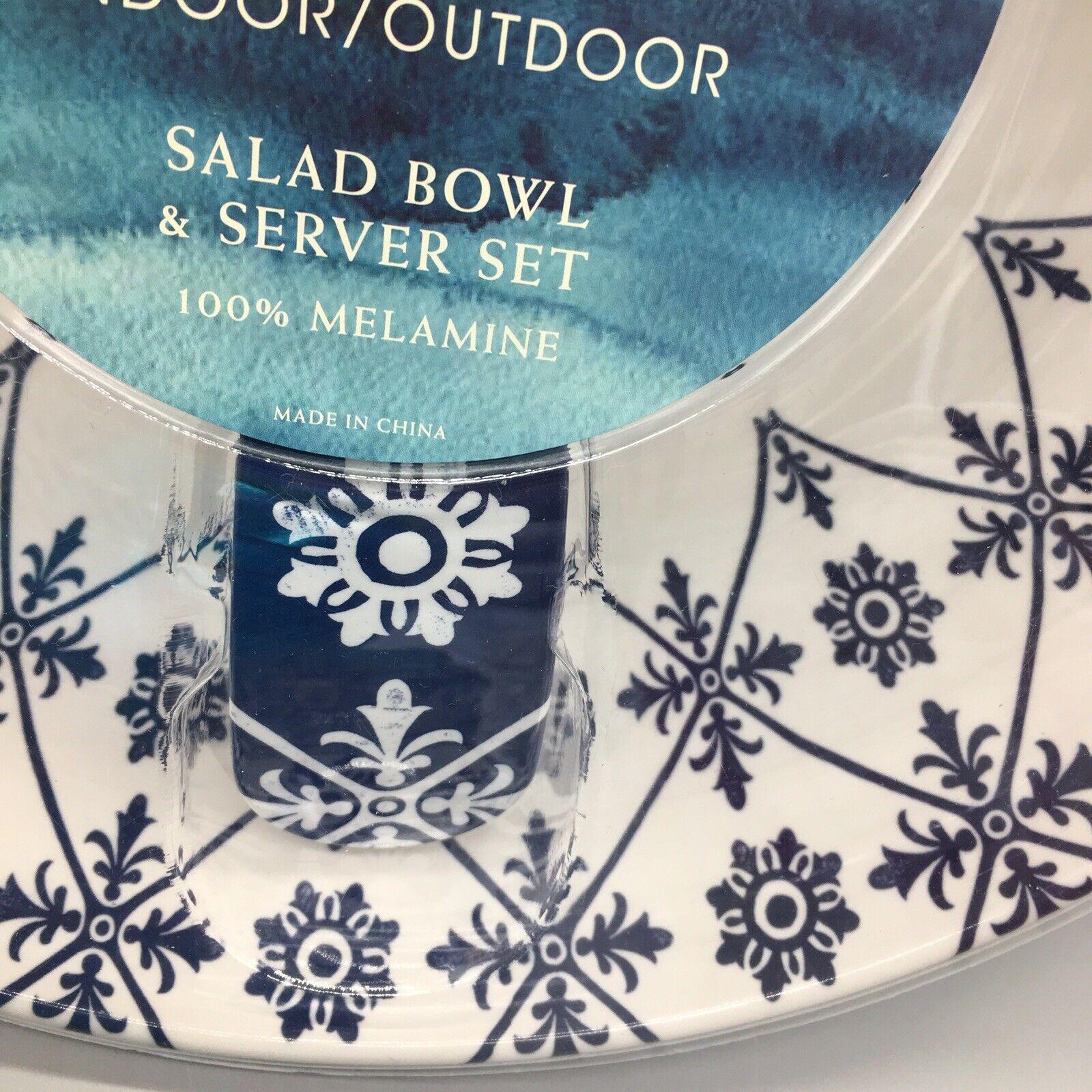 3pc Cynthia Rowley Melamine Serving Salad Salad Salad Bowl Server Set Medallion Navy Weiß 6d2873