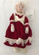 """Porcelain Doll Christmas Ornament Burgundy Dress Lace Trim 7.5"""""""