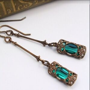 Vintage-Women-039-s-Emerald-amp-Amethyst-Silver-Dangle-Wedding-Earrings-Jewelry-Gifts